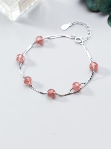 925 Sterling Silver Minimalist Double Layer Strawberry Crystal Bracelet Strand Bracelet
