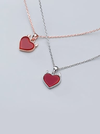 925 Sterling Silver Cute heart pendant Necklace