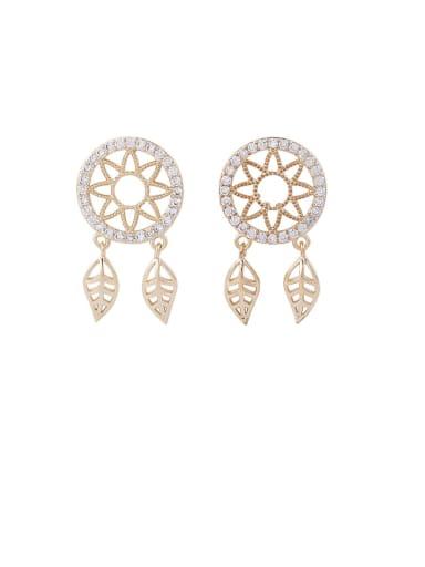Brass Cubic Zirconia White Catch Monternet Dainty Drop Earring