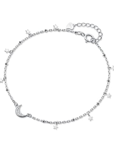 925 Sterling Silver  Minimalist  Star Moon  Anklet
