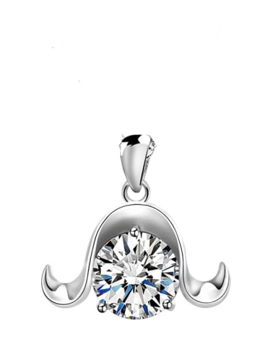 925 Sterling Silver Rhinestone Minimalist Constellation  Aries Pendant
