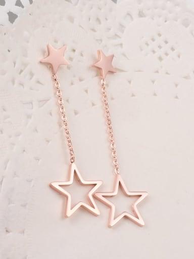 Titanium Tassel   five-pointed star Minimalist Drop Earring
