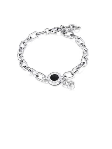 1051-platinum Titanium Cubic Zirconia Black Enamel Round Minimalist Bracelets