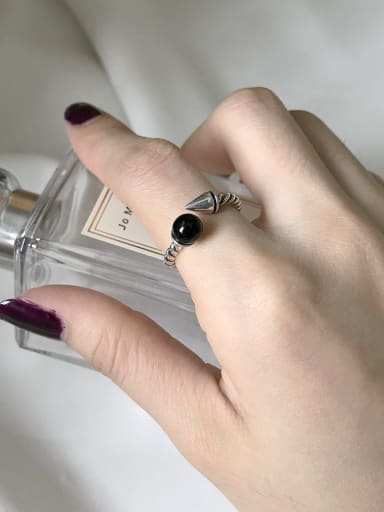 925 Sterling Silver Black Agate Twist free size Ring