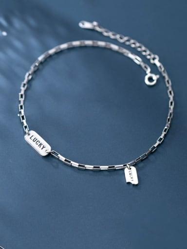 925 Sterling Silver  Minimalist  Letter  Anklet