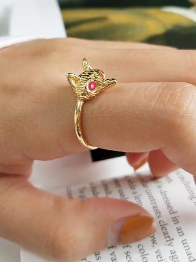 925 Sterling Silver Enamel Red Fox Cute Midi Ring