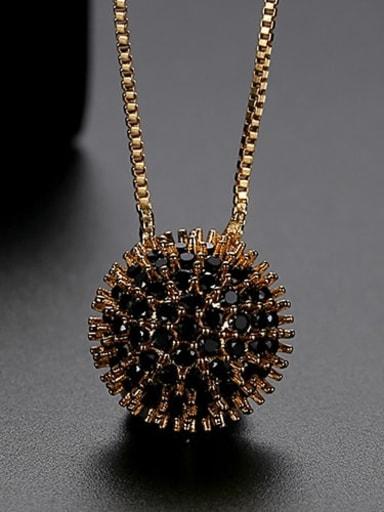 Black t10b21 Copper Cubic Zirconia Retro round flower pendant  Necklace