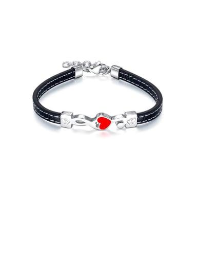 Titanium Black Leather Heart Minimalist Bracelets