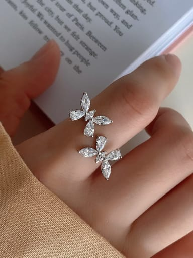 925 pure silver simple butterfly zircon free size Rings
