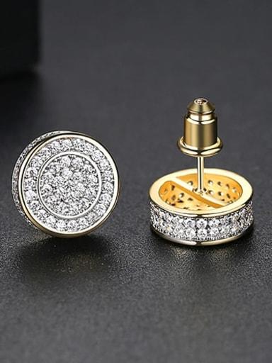 White Zirconium  gold Copper Cubic Zirconia Round Minimalist Cluster Earring