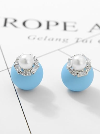 Light blue white gold t03b16 Copper Cubic Zirconia Round Ball Minimalist Stud Earring