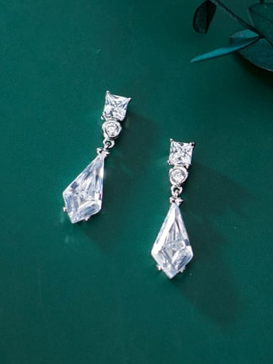 925 Sterling Silver Cubic Zirconia White Geometric Dainty Stud Earring