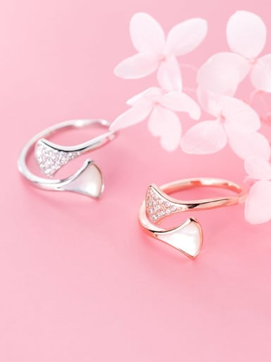 925 Sterling Silver Plant Diamond Apricot Leaf  Free Size Rings