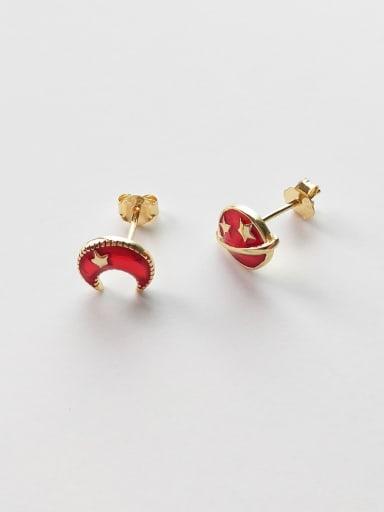 925 Sterling Silver Red Enamel Star Cute Stud Earring