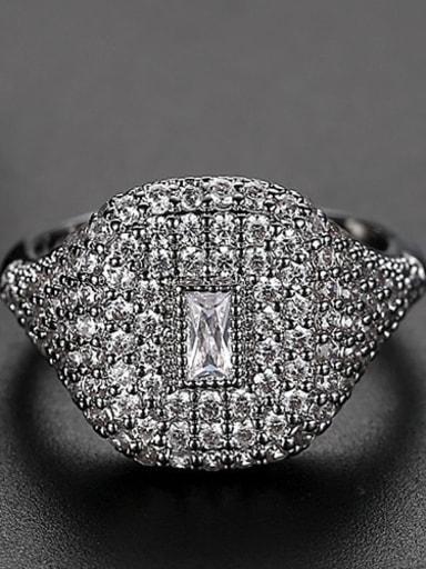 White Copper Rhinestone Geometric Dainty Band Ring