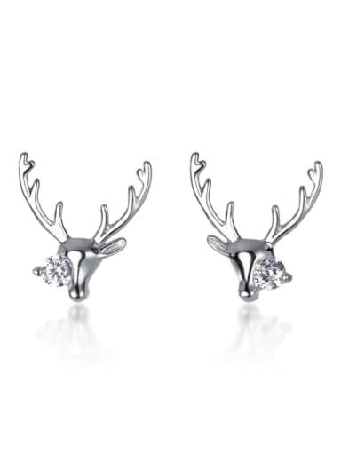 925 Sterling Silver Cubic Zirconia White Deer Minimalist Stud Earring