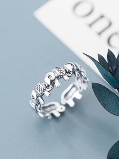 925 Sterling Silver Vintage Elephant Free Size Ring