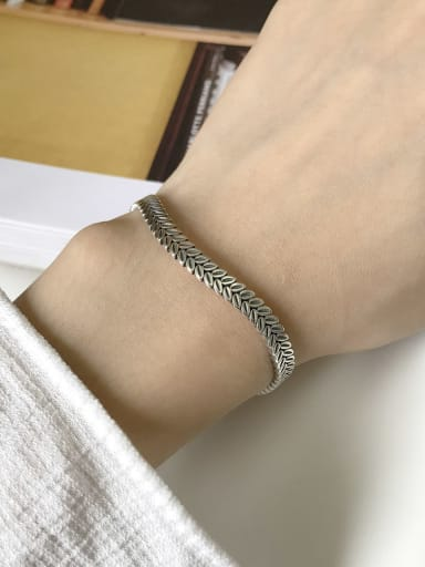 925 Sterling Silver Willow Leaf Vintage Cuff Bangle