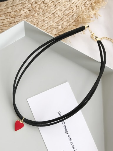925 Sterling Silver Red Enamel Heart Classic Choker Necklace