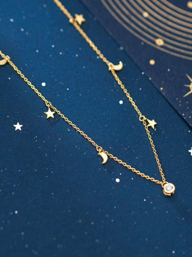 925 sterling silver simple fashion Star Moon Necklace