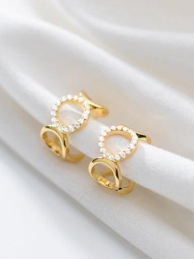 925 Sterling Silver Rhinestone White Geometric Minimalist Drop Earring