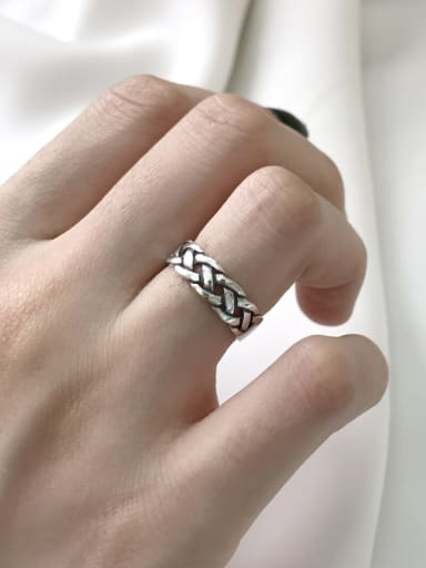 925 Sterling Silver Geometric Chain  Minimalist Band Ring