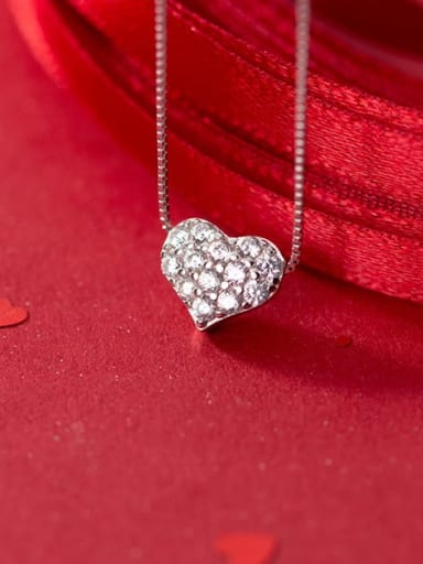 925 Sterling Silver Cubic Zirconia white Heart Necklace