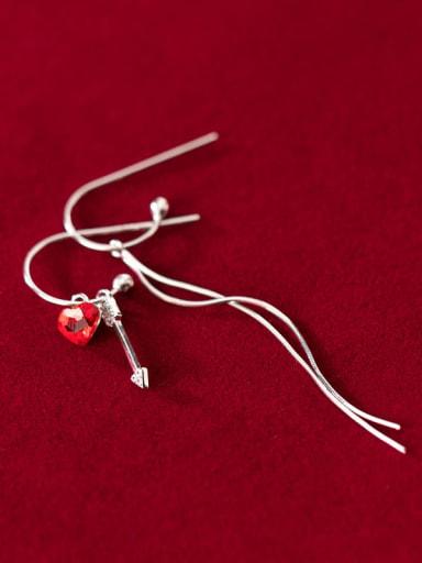 925 Sterling Silver With Minimalist Heart  SimpleTassel Threader Earrings