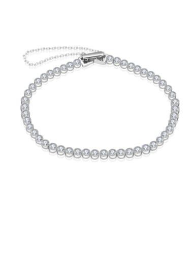 925 Sterling Silver Cubic Zirconia Round Minimalist Bracelet