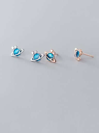 925 Sterling silverblue cosmos planet minimalist study Earring