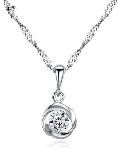925 Sliver Rhinestone Minimalist  Geometric pendant Necklace