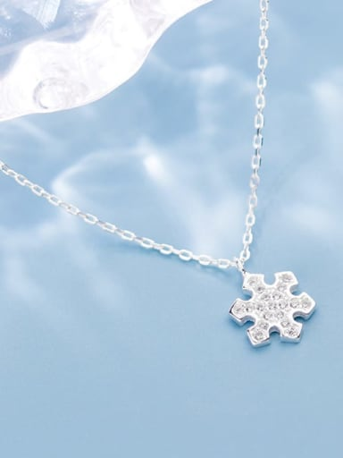 925 sterling silver simple fashion snowflake pendant necklace