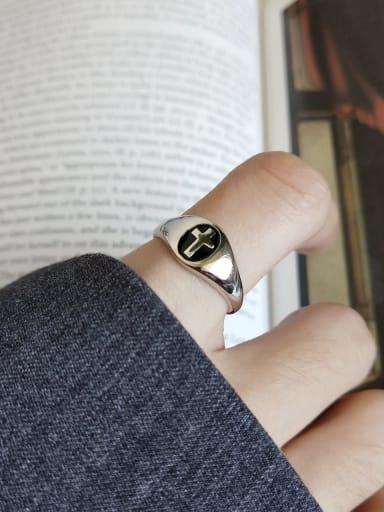 925 Sterling Silver Enamel Black Cross Minimalist Free Size Band Ring