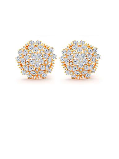 Copper Cubic Zirconia Flower Luxury Stud Earring