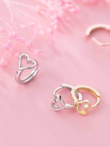 925 Sterling Silver Hollow Heart Minimalist Clip Earring