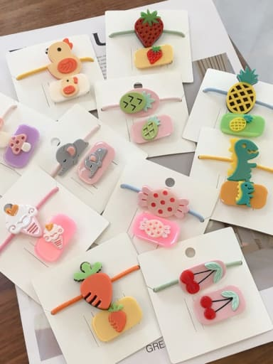 Alloy Acrylic Cute Children cartoon animal fruit Hairpin Rubber band Set