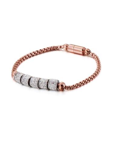 rose Stainless Steel Rhinestone White Round Vintage Link Bracelet