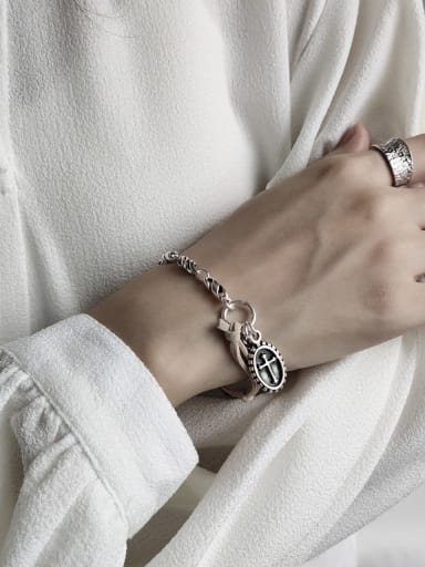 925 Sterling Silver Fabric Cross Vintage Link Bracelet