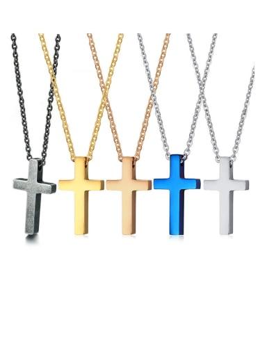 Stainless Steel  Smooth Cross Minimalist Regligious Necklace