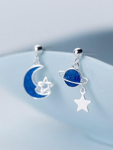 925 Sterling Silver Enamel Star Minimalist Stud Earring