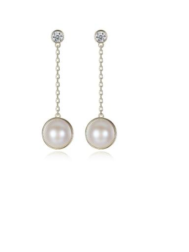 925 Sterling Silver Freshwater Pearl White Ball Trend Threader Earring