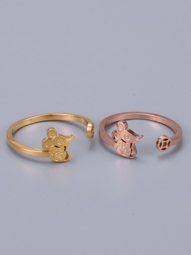 Titanium Cute  Mouse Minimalist Free Size Ring