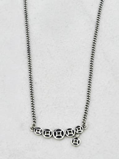 A(xl068) Vintage Sterling Silver With Gun Plated Vintage Round Necklaces