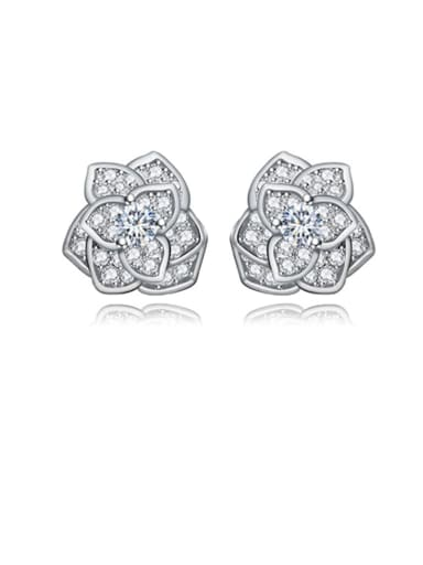 platinum  white Copper Cubic Zirconia Flower Dainty Stud Earring