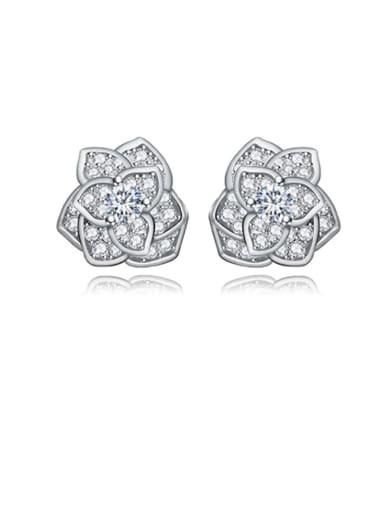 platinum  white Copper Cubic Zirconia Flower Dainty Stud Earring