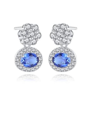 925 Sterling Silver Cubic Zirconia White Geometric Luxury Stud Earring