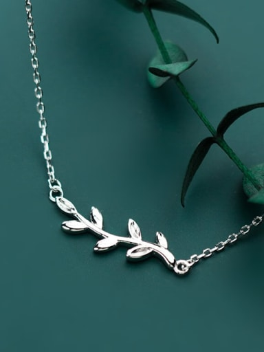 925 sterling silver simple fashion glossy Leaf Pendant Necklace