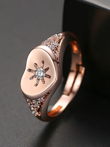 rose gold Copper Cubic Zirconia Heart Minimalist Free Size Band Ring