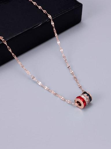 Titanium Rhinestone Round Minimalist Necklace