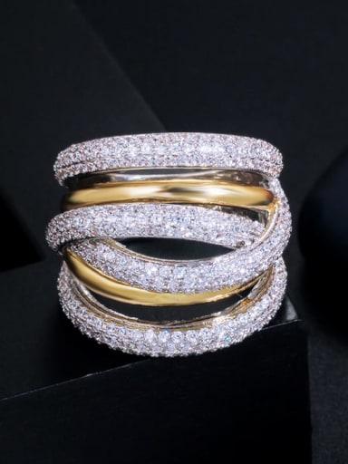Copper Cubic Zirconia Irregular Luxury Band Ring